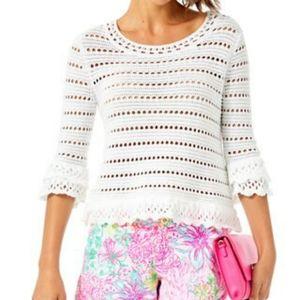 Lilly Pulitzer Irina Crochet Cotton Sweater NWT